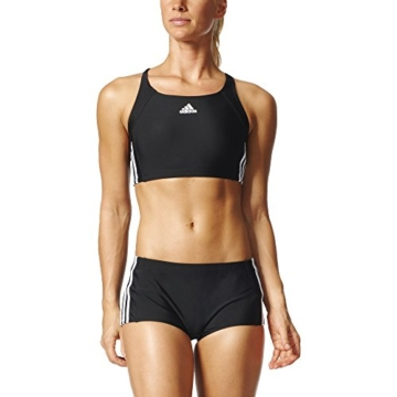 adidas Damen Infinitex Essence Core 3-Stripes Bikini, Black/White, 38 - 6