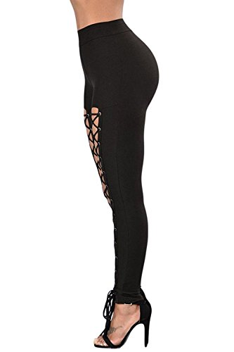 Aranmei Sexy Leggings Damen Lace Up Elastische Hohe Taille Yoga Hose Jogginghose Sporthose(Lace Up,Small) - 2