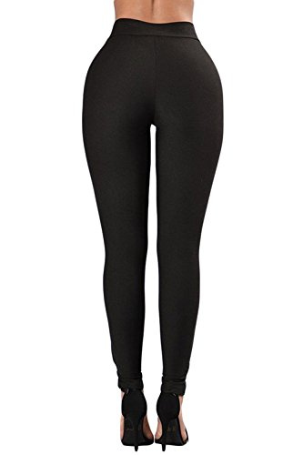 Aranmei Sexy Leggings Damen Lace Up Elastische Hohe Taille Yoga Hose Jogginghose Sporthose(Lace Up,Small) - 3