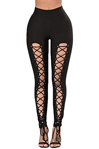 Aranmei Sexy Leggings Damen Lace Up Elastische Hohe Taille Yoga Hose Jogginghose Sporthose(Lace Up,Small) - 1