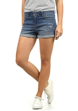 BlendShe Andreja Damen Jeans Shorts Kurze Denim Hose Mit Destroyed-Optik Aus Stretch-Material Skinny Fit, Größe:L, Farbe:Medium Blue Washed (29052) - 1
