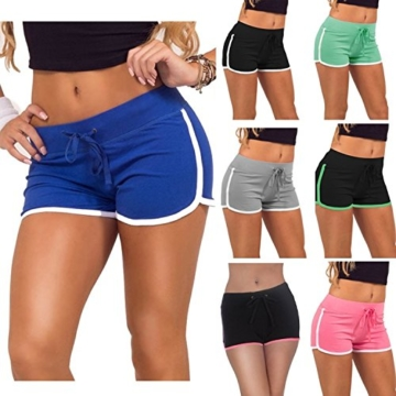 Damen Casual Shorts Hot pants Sportshorts Baumwolle Badehose Grün EU 32/(Asian S) - 4