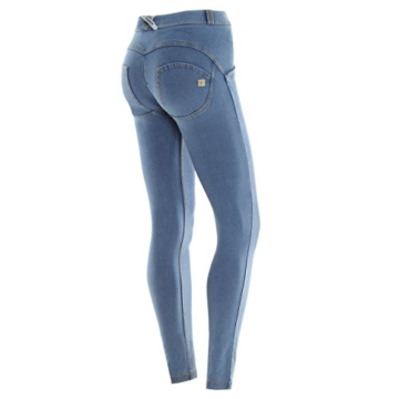 Freddy WR.UP  - J3Y Damen Pushup Regular Waist Skinny mit Denim Effekt - Waschung Blau- Gelb Nähte, L - 2