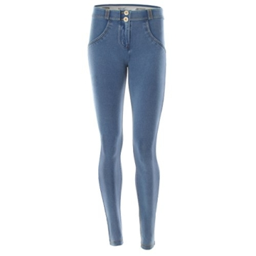 Freddy WR.UP  - J3Y Damen Pushup Regular Waist Skinny mit Denim Effekt - Waschung Blau- Gelb Nähte, L - 1