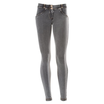 Freddy WR.UP Women's Skinny Jeans niedriger Bund Light Wash-Effekt, Grau/Gelb, Gr. XL - 2