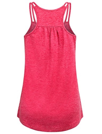 Hibelle Damen Tops, Frauen Yoga Tank Relaxed Knit Feuchtigkeit Wicking Übung Kleidung Stilvolle Basic Layered Gym Sommer Workout Leibchen T-Shirt Wassermelone Red X-Large - 2