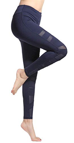 Huixin Damen Sports Leggings Netze Spleiß Yoga Fitness Elegant Laufen Jogginghose Hose Elastische Taille Trousers Leggins (Color : Blau, Size : S) - 4