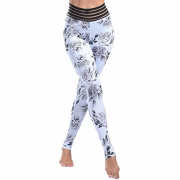 Huixin Yoga Hosen Frauen Sport Kleidung Chinesischen Stil Elegant Gedruckt Yoga Leggings Fitness Yoga Laufhose Sport Hosen Kompression Strumpfhosen (Color : Weiß, Size : S) - 2
