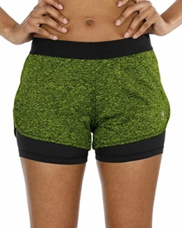 icyzone Damen Sport Shorts Kurze Hosen Sporthose - 2 in 1 Laufshorts Fitness Yoga Hot Pants (S, Green Heather) - 1