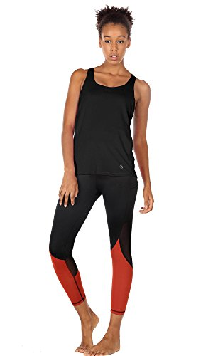 icyzone Damen Sport Tops mit Integriertem BH - 2 in 1 Yoga Gym Shirt Fitness Training Tanktop (XXL, Black) - 2