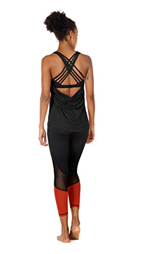 icyzone Damen Sport Tops mit Integriertem BH - 2 in 1 Yoga Gym Shirt Fitness Training Tanktop (XXL, Black) - 4