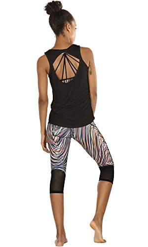 icyzone Damen Yoga Sport Tank Top - Rückenfrei Fitness Shirt Oberteil ärmellos Training Tops (XL, Black/Grey - 3