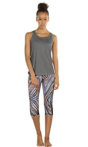 icyzone Damen Yoga Sport Tank Top - Rückenfrei Fitness Shirt Oberteil ärmellos Training Tops (XL, Black/Grey - 4