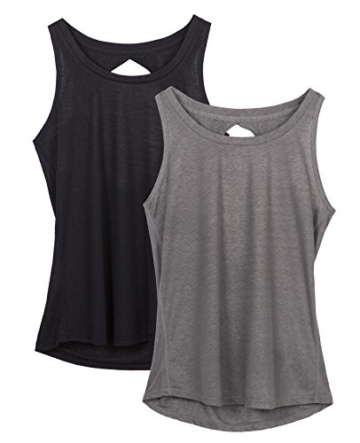 icyzone Damen Yoga Sport Tank Top - Rückenfrei Fitness Shirt Oberteil ärmellos Training Tops (XL, Black/Grey - 1