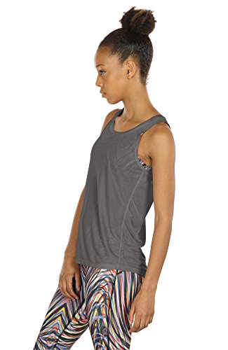 icyzone Damen Yoga Sport Tank Top - Rückenfrei Fitness Shirt Oberteil ärmellos Training Tops (XL, Black/Grey - 5
