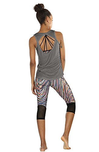 icyzone Damen Yoga Sport Tank Top - Rückenfrei Fitness Shirt Oberteil ärmellos Training Tops (XL, Black/Grey - 6