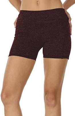 icyzone Kurz Sporthose Damen Fitness Shorts - Workout Training Tights Kurze Yogahose Jogginghose mit Taschen (M, Wine) - 1