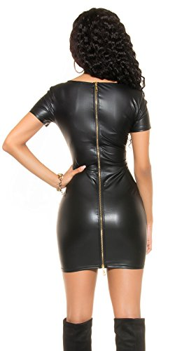 Koucla Damen Minikleid Mini Kleid Wetlook 2-Wege-Zipper Leder Optik sexy eng Party S 32 34 36 - 3