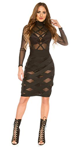 Koucla Hot Kleid Mesh Bondage Look Stehkragen Zipper L - 6