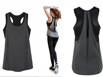 POUREVE Damen Sport Tank Top, 2 in 1 Damen Sport BH Weste Quick Dry Sexy Top Strapless Gym Sport Tops Training Tank Top Sommer Tanktops Loose (Grau + Schwarz, XL) - 1