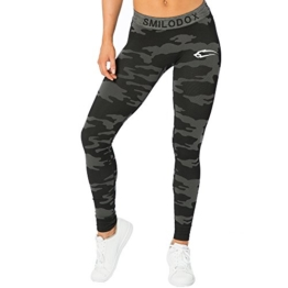 SMILODOX Camouflage Leggings Damen Army | Seamless - Figurformende Tight für Sport Fitness Gym Yoga | Sporthose - Workout Trainingshose - Tights Laufhose Camouflage, Farbe:Schwarz, Größe:XS - 1