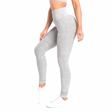 SMILODOX Damen Leggings High Waist Ivy | Seamless - Figurformende Tight für Fitness Gym Yoga Training & Freizeit | Sporthose - Workout Trainingshose, Größe:S, Farbe:Grau Melange - 2