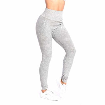 SMILODOX Damen Leggings High Waist Ivy | Seamless - Figurformende Tight für Fitness Gym Yoga Training & Freizeit | Sporthose - Workout Trainingshose, Größe:S, Farbe:Grau Melange - 3