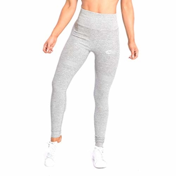 SMILODOX Damen Leggings High Waist Ivy | Seamless - Figurformende Tight für Fitness Gym Yoga Training & Freizeit | Sporthose - Workout Trainingshose, Größe:S, Farbe:Grau Melange - 1