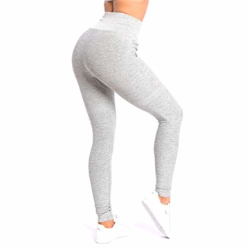 SMILODOX Damen Leggings High Waist Ivy | Seamless - Figurformende Tight für Fitness Gym Yoga Training & Freizeit | Sporthose - Workout Trainingshose, Größe:S, Farbe:Grau Melange - 6