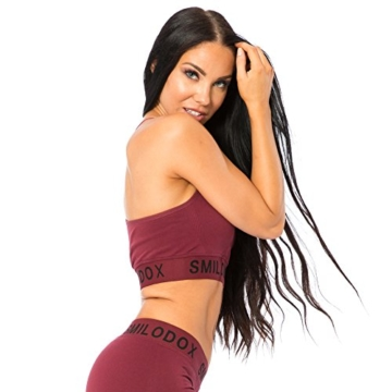 SMILODOX Seamless Sport-BH Damen | Fitness-BH ohne Bügel | Starker Halt im Training - Bustier ideal für Pilates Yoga Gym Fitness & Workout - Soft Büstenhalter - Sports Bra, Größe:XS, Farbe:Bordeaux - 3