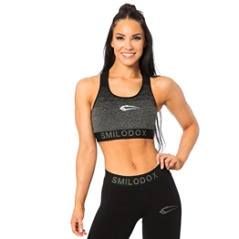 SMILODOX Seamless Sport-BH Damen | Fitness-BH ohne Bügel | Starker Halt im Training - Bustier ideal für Pilates Yoga Gym Fitness & Workout - Soft Büstenhalter - Sports Bra, Farbe:Schwarz, Größe:XS - 1