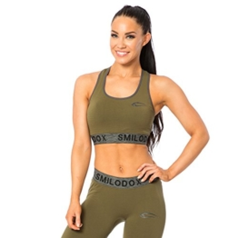 SMILODOX Seamless Sport-BH Damen | Fitness-BH ohne Bügel | Starker Halt im Training - Bustier ideal für Pilates Yoga Gym Fitness & Workout - Soft Büstenhalter - Sports Bra, Farbe:Grün, Größe:XS - 1