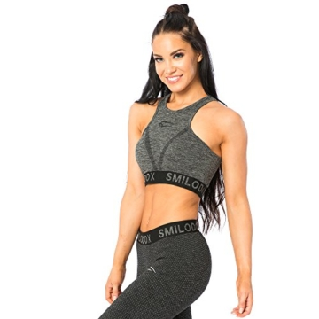 SMILODOX Seamless Sport-BH Damen | Fitness-BH ohne Bügel | Starker Halt im Training - Bustier ideal für Pilates Yoga Gym Fitness & Workout - Soft Büstenhalter - Sports Bra, Farbe:Anthrazit, Größe:L - 3