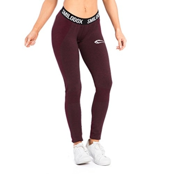 SMILODOX Sport Leggings Damen 'Autumn' | Seamless - Figurformende Tight für Sport Fitness Gym Yoga Training | Sporthose - Workout Trainingshose - Tights Laufhose, Farbe:Schwarz/Rot, Größe:S - 2