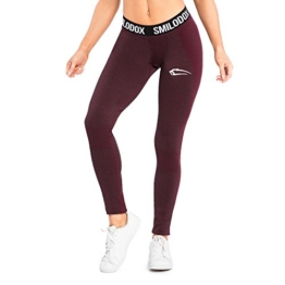 SMILODOX Sport Leggings Damen 'Autumn' | Seamless - Figurformende Tight für Sport Fitness Gym Yoga Training | Sporthose - Workout Trainingshose - Tights Laufhose, Farbe:Schwarz/Rot, Größe:S - 1