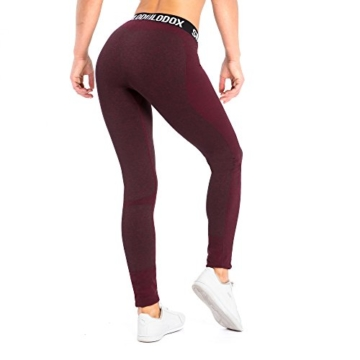 SMILODOX Sport Leggings Damen 'Autumn' | Seamless - Figurformende Tight für Sport Fitness Gym Yoga Training | Sporthose - Workout Trainingshose - Tights Laufhose, Farbe:Schwarz/Rot, Größe:S - 4