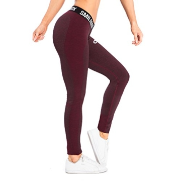 SMILODOX Sport Leggings Damen 'Autumn' | Seamless - Figurformende Tight für Sport Fitness Gym Yoga Training | Sporthose - Workout Trainingshose - Tights Laufhose, Farbe:Schwarz/Rot, Größe:S - 5