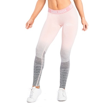 SMILODOX Sport Leggings Damen 'Recent' | Seamless - Figurformende Tight für Fitness Gym Yoga Training & Freizeit | Sporthose - Workout Trainingshose - Tights Laufhose, Größe:L, Farbe:Koralle - 3