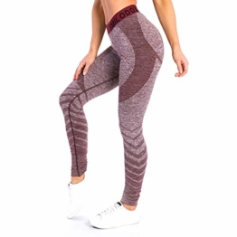 SMILODOX Sport Leggings Damen 'Vira' | Seamless - Figurformende Tight für Fitness Gym Yoga Training & Freizeit | Sporthose - Workout Trainingshose, Größe:M, Farbe:Bordeaux - 1