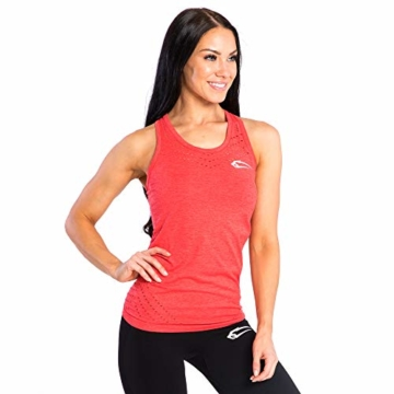 SMILODOX Sport Tank Top Damen 'Mel' | Seamless - Trainingsshirt ideal für Gym Fitness & Workout | Ärmelloses Sport T-Shirt | Sporttop | Cut Out Stil, Farbe:Rot, Größe:M - 2