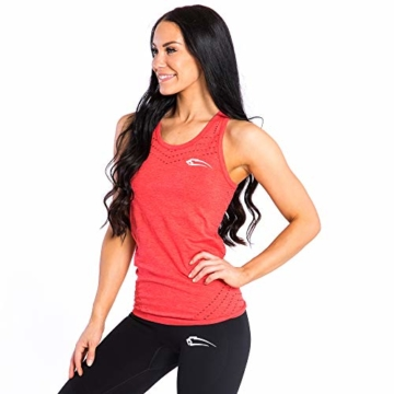 SMILODOX Sport Tank Top Damen 'Mel' | Seamless - Trainingsshirt ideal für Gym Fitness & Workout | Ärmelloses Sport T-Shirt | Sporttop | Cut Out Stil, Farbe:Rot, Größe:M - 3