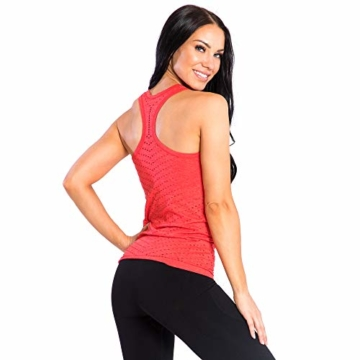 SMILODOX Sport Tank Top Damen 'Mel' | Seamless - Trainingsshirt ideal für Gym Fitness & Workout | Ärmelloses Sport T-Shirt | Sporttop | Cut Out Stil, Farbe:Rot, Größe:M - 4