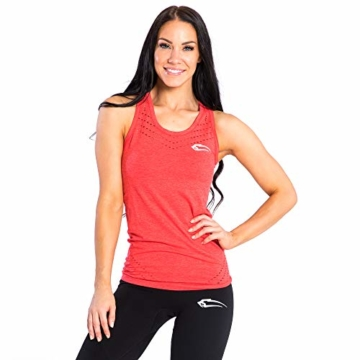 SMILODOX Sport Tank Top Damen 'Mel' | Seamless - Trainingsshirt ideal für Gym Fitness & Workout | Ärmelloses Sport T-Shirt | Sporttop | Cut Out Stil, Farbe:Rot, Größe:M - 1