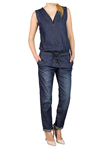 Sublevel Damen Jeans Overall | Bequemer Jumpsuit aus hochwertigem Denim | Used Washed One-Piece Dark-Blue M - 3