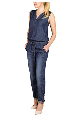 Sublevel Damen Jeans Overall | Bequemer Jumpsuit aus hochwertigem Denim | Used Washed One-Piece Dark-Blue M - 4