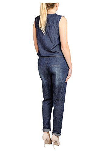 Sublevel Damen Jeans Overall | Bequemer Jumpsuit aus hochwertigem Denim | Used Washed One-Piece Dark-Blue M - 5