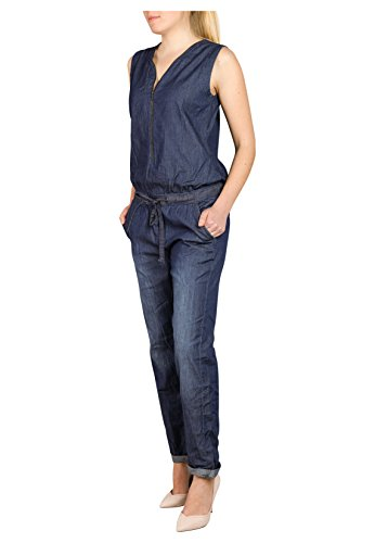 Sublevel Damen Jeans Overall | Bequemer Jumpsuit aus hochwertigem Denim | Used Washed One-Piece Dark-Blue M - 6