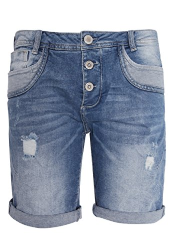 Sublevel Damen Shorts | Blaue Jeans Bermuda mit Destroyed Parts im Boyfriend-Style Blue M - 2