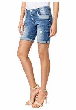 Sublevel Damen Shorts | Blaue Jeans Bermuda mit Destroyed Parts im Boyfriend-Style Blue M - 1