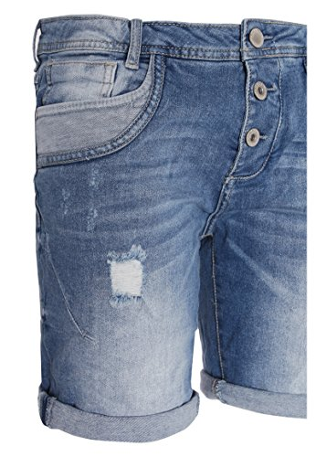 Sublevel Damen Shorts | Blaue Jeans Bermuda mit Destroyed Parts im Boyfriend-Style Blue M - 4